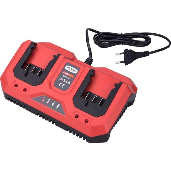 Nabíjačka akumulátorov 20V/2x2,4A pre záhradné aku náradie, EXTOL PREMIUM