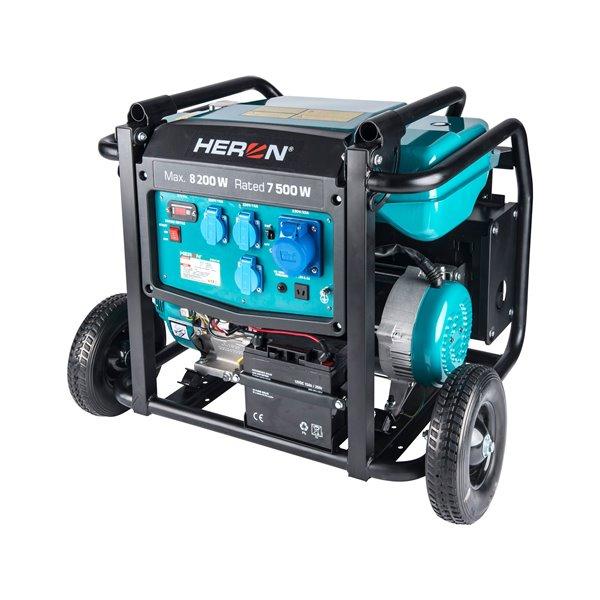 Elektrocentrála rámová benzínová 1F, 8,2kW, 17HP, podvozok, elektrický štart, HERON