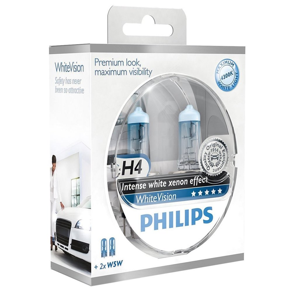 Philips White Vision H4 + W5W 12V DUO