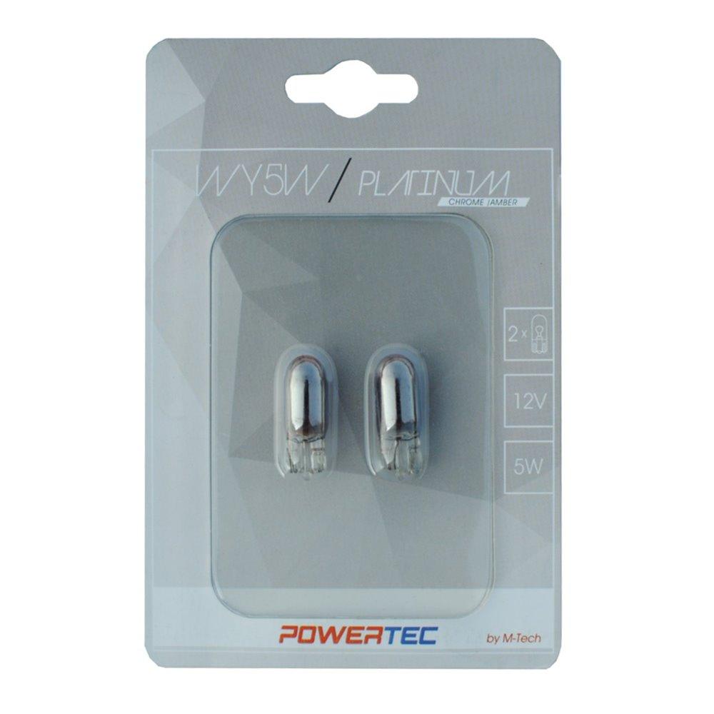 Powertec Platinum WY5W T10 5W Wedge 12V CHROME Blister