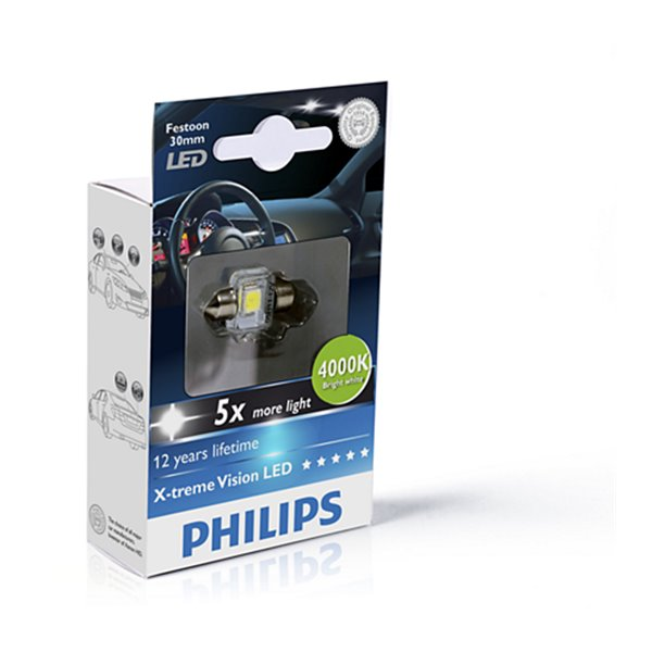 Philips X-Treme Vision Festoon C5W LED T14x30 4 000 K SV8,5 12V 1W X1