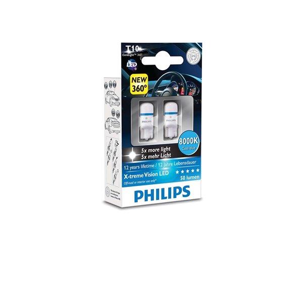 Philips W5W X-tremeVision LED 8 000 K W2.1X9.5D 12V 1W X2
