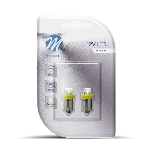 Blister 2x LED L013 - BA9s, 4LED, 3mm, yellow