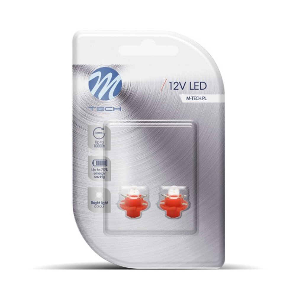 Blister 2x LED L049R - B8.4D Concave Red
