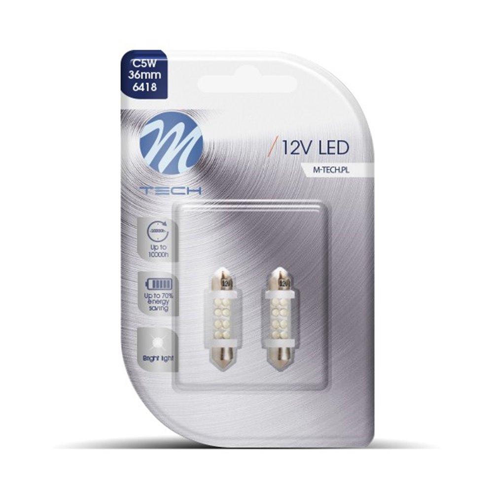 Blister 2x LED L071W - C5W 36mm 8LED 3mm White
